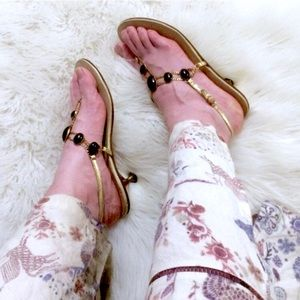 True vintage 60s T strap jeweled sandals